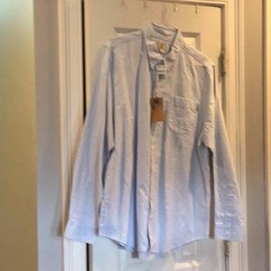 Classic summer relaxed blue button down men's